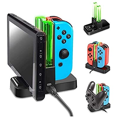 Dobe NS Switch Controller Charger, Joy-cons Charging Dock Station with LED Indicators 4 Charging Dock and Type C Cable