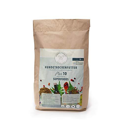 Green PAWLY Trockenfutter für Hunde - kaltgepresst, naturnah mit SUPERFOODS / Vitamin,-nährstoffreich / hoher Frischfleischanteil , magenschonend (hohe Verträglichkeit), 5 kg