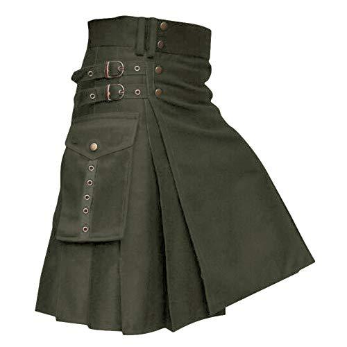 Falda escocesa para hombre escocesa, falda tradicional Highlander, vestido celta A-verde. L