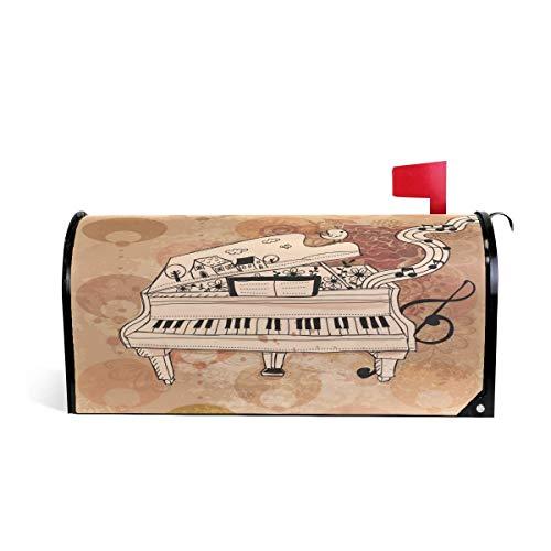 prz0vprz0v Art Piano Muziek Opmerkingen Magnetische Postbus Cover Home Tuin Decoraties 21 x 18 Inch Waterdichte Canvas Postbus Cover