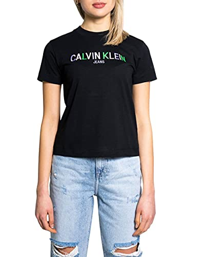 Calvin Klein Jeans Multicolored Logo tee Cuello extendido, CK Negro, XS para Mujer