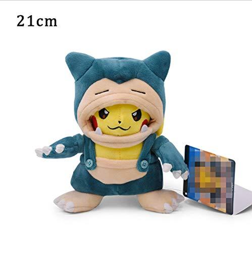 lili-nice Plüschtier Pikachu Cosplay Charizard Snorlax Garchomp Ampharos Tyranitar Hydreigon Kuscheltierpuppen Kinder Spielzeug Geburtstag 21Cm