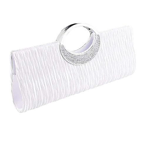 Damen-Handtasche von ClorisLove, Unterarmtasche aus Satin mit Strass-Steinen besetzt, plissiert, mit Schulterkette, zeitloses Design, Abendhandtasche für Partys, Hochzeiten, Clubs Gr. S, silber