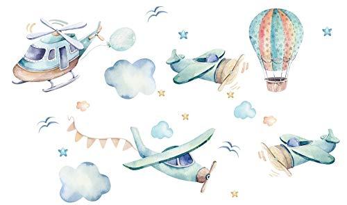 Szeridan Aviones, pájaros, nubes, estrellas, globo, cielo, adhesivo de pared para habitación de bebé, adhesivo decorativo para la habitación de los niños, 120 x 70 cm (S, aviones D119)