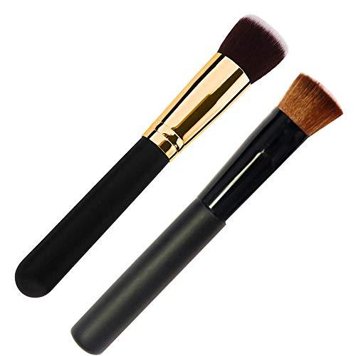 Paquete de 2 brochas de maquillaje para base, Kabuki de superficie plana para difuminar, en polvo, crema y maquillaje líquido, pulir, puntear, corrector: cerdas densas sintéticas de primera calidad