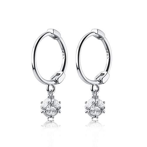 Pendientes de aro de plata de ley 925, temperamento coreano, bola de circonita, hebilla de oreja corta, pendiente exquisito para mujer, joyería para mujer
