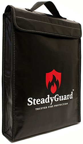 """SteadyGuard Premium Fireproof Bag - XL 15""""x11.5""""x2.5"""" - Non-Itchy Silicone Coated Fiberglass Pouch w/Zipper & Handle - Safe Storage of Valuables Documents Money - Water & Fire Resistant"""