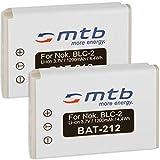 2X Batería BLC-2 Compatible con Nokia 3310 (versión año 2000), 3330, 3410, 3510, 3510i, 5510, 6650, 6800, 6810