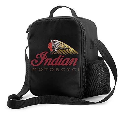 Indian Motorcycles Bolsas porta alimentos Bolsa de almuerzo aislada unisex Cubeta de almuerzo reutilizable con correa para el hombro