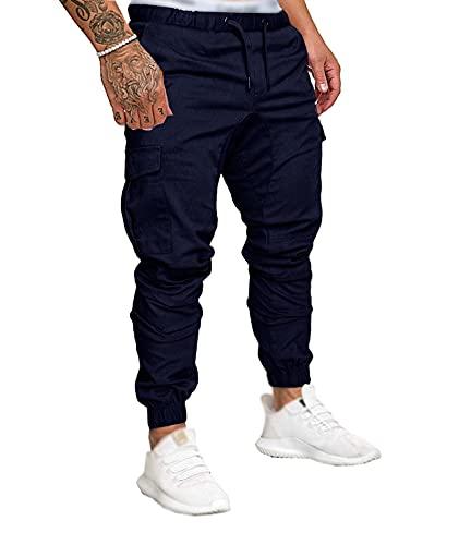 SOMTHRON Uomo Cintura Elastica in Cotone Lungo da Jogging Pantaloni Sportivi Taglie Forti Pantalone Sportivo da Lavoro con Pantaloncini Pantaloni da Jogging Pantaloni Activewear (ZQ-4XL)