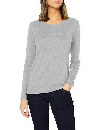 United Colors of Benetton (Z6ERJ T-Shirt M/l Camiseta, Melange Light Grey 501, XS para Mujer