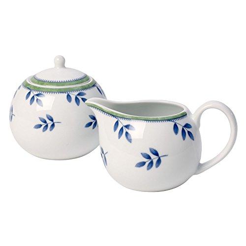 Villeroy & Boch Switch 3 Sucrier 9,5cm et pot à lait, Porcelaine, Blanc/Bleu/Vert