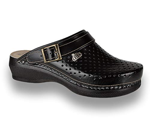 Leon PU101 Zuecos Zapatos Zapatillas de Cuero Para Mujer, Negro, EU 39