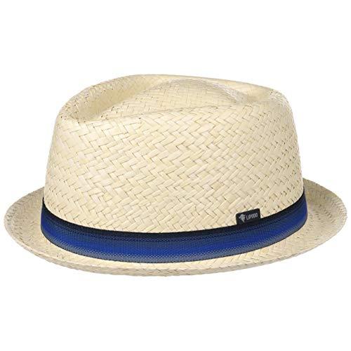 LIPODO Sombrero de Paja Diamond Crown Mujer/Hombre - Made in Italy Fedora Verano Playa con Banda Grosgrain Primavera/Verano - XL (60-61 cm) Natural