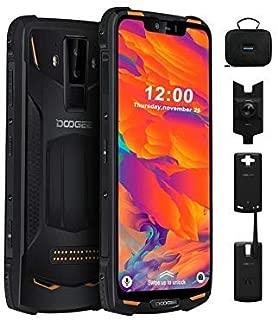 Rugged Mobile Phone Unlocked Android 9.0, DOOGEE S90 C 4G Dual SIM Free Smartphone Outdoor, 10050mAh(Power Mod Included), IP68/IP69K Waterproof 4+64GB 6.18 Inch, 16+8+8MP Cameras, NFC/GPS/WiFi, Orange