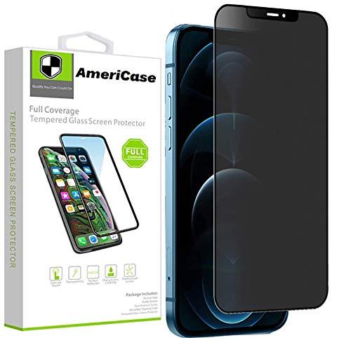 AmeriCase   [4 Way] 360° Privacy Screen Protector for [ iPhone 12 Mini ] Privacy Tempered Glass [Edge to Edge Full Coverage] True Anti-Spy Screen 1080p HD 9H Film (iPhone 12 Mini)