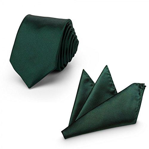 Rusty Bob - Krawatte mit Einstecktuch (in vielen Farben) - für die Verlobung, die Hochzeit - Schlips mit Taschentuch für das Sakko - 2er-Set - Dunkelgrün