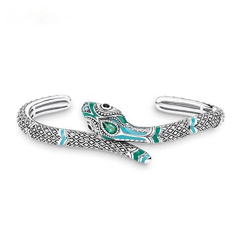 Pulseras Brazaletes Blue Snake 925 Sterly Silver Bohemia Glam Mujer Europa Estilo Alma Fina Regalo
