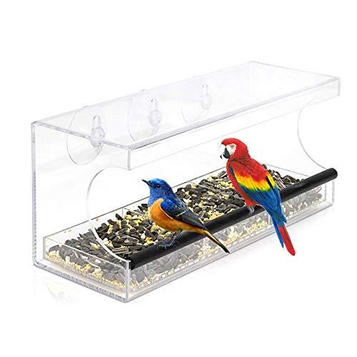 Walory Comedero para pájaros con Ventana de acrílico Transparente con 3 ventosas...