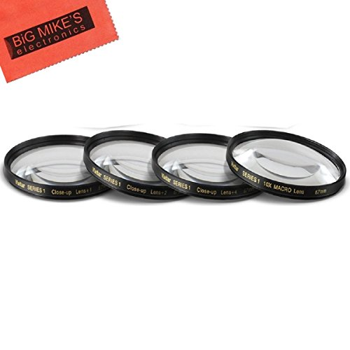 67mm Close-Up Filter Set (+1, 2, 4 and +10 Diopters) Magnificatoin Kit for Canon Rebel T6i, T6s, T7i, EOS 80D, EOS 77D Cameras with Canon EF-S 18-135mm is STM Lens