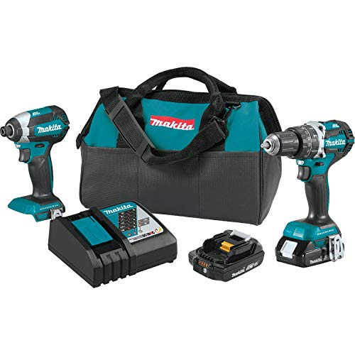 Makita XT269R 2 Amp 18V Compact LXT Lithium-Ion Brushless Cordless Combo Kit (2 Piece), Blue