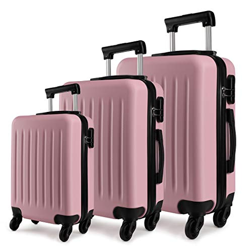 Kono Luggage Sets of 3pcs Lightweight ABS Hard Shell Trolley Travel Case with 4 Wheeled Spinner 19' 24' 28' (Pink Set)