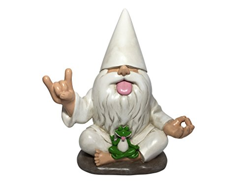 GlitZGlam Rocker Gnome George with Zen Frog - This Garden Gnome combines Peace, Tranquility and Rock N Roll for your Fairy Garden by