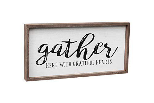 Gather Here with Grateful Hearts Wood Framed Wall Sign, Farmhouse Gather Wall Hanging Decor for Dining Room, Bedroom, Kitchen or Living Room, 19.375' W x 9.5' H
