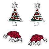 GAKIN 2 pares de pendientes de Navidad gorro de Papá Noel y árbol de Navidad pendientes de tuerca creativos plata