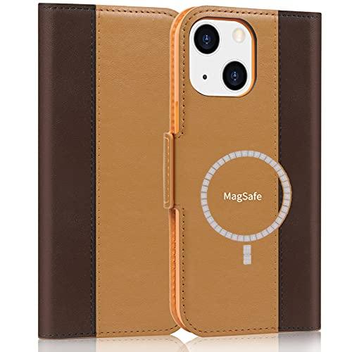 FYY Funda de piel para iPhone 13 de 6,1 pulgadas y 2021, diseño de carga de magsafe, color amarillo y marrón