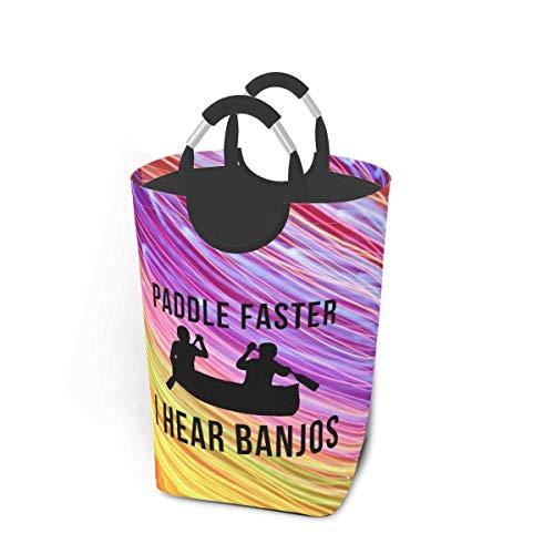 N\A Paddle Faster I Hear Banjos Cesto de lavandería Cesto de Lavado Plegable Contenedor de Lavado de Compras Engrosado Almacenamiento de Lavado con Asas para fácil Transporte