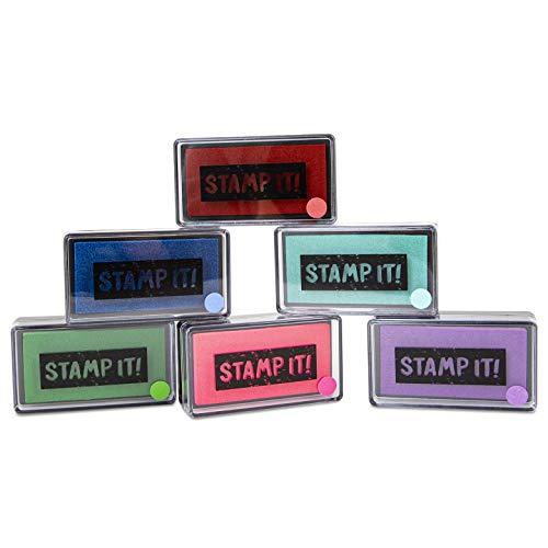 Trendhaus 601704 Stempelkissen Set | 6 kräftige Farben | 6,5 cm x 3,5 cm x 2 cm, bunt/Mehrfarbig