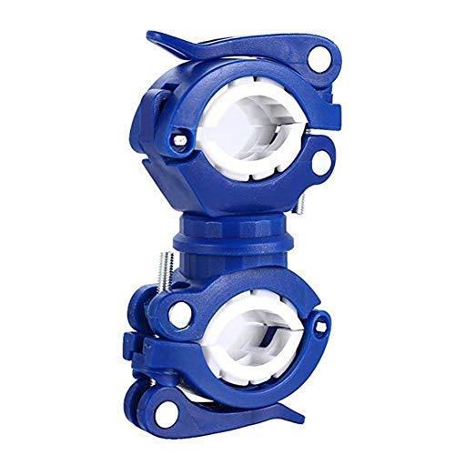 Frieed 360 Grados de Ciclo Clip de sujeción Abrazadera de rotación de Bicicletas Montaje de la antorcha LED Cabeza luz Delantera Clip Accesorios de Bicicletas Durable (Color : Blue with White)