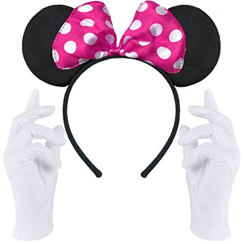 Haarreifen in schwarz mit Maus Ohren Mouse mit Schleife in pink mit weißen Punkten + weiße Handschuhe für Erwachsene