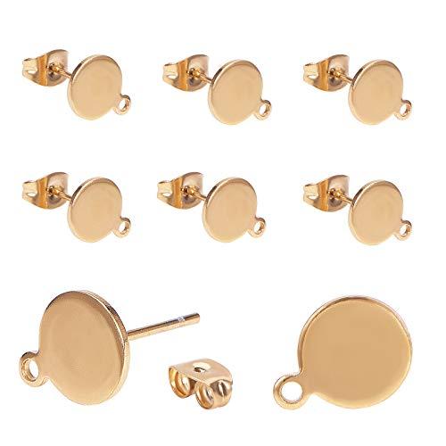PandaHall 10 pz Piatto Rotondo d'oro 304 Risultati orecchino Perno in Acciaio Inox componenti per la creazione di Gioielli Fai da Te