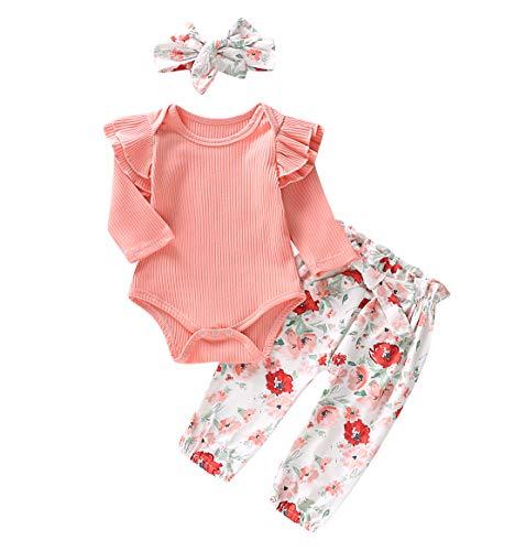 Carolilly Neugeborenes Baby Mädchen Langarm Body Romper Overalls + Hosen Outfits Set Kleidung Set (0-3 Monate, Blumenblättern)