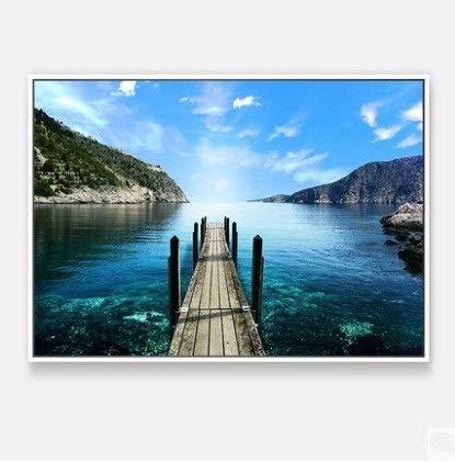 WANGXINQUAN Paisaje Pintura Decorativa Sala de Estar Versión Horizontal de sofá Sofa Fondo Pintura Dormitorio Mural Ocean Mediterráneo Pintura de la Pared (40 * 60 cm) (Color : Plata)