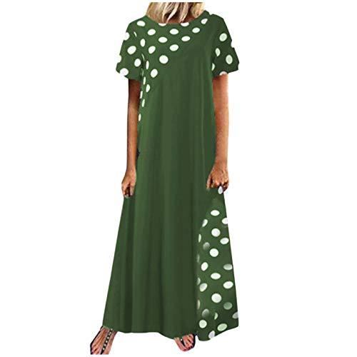 Janly Clearance Sale Vestido para mujer, talla grande, con estampado de lunares y lunares de Pachwort de manga corta con bolsillos, vestido informal, para Pascua, día de San Patricio, color verde