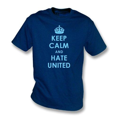 PunkFootball Keep Calm y Odio United Camiseta Manchester City tamaño Mediano