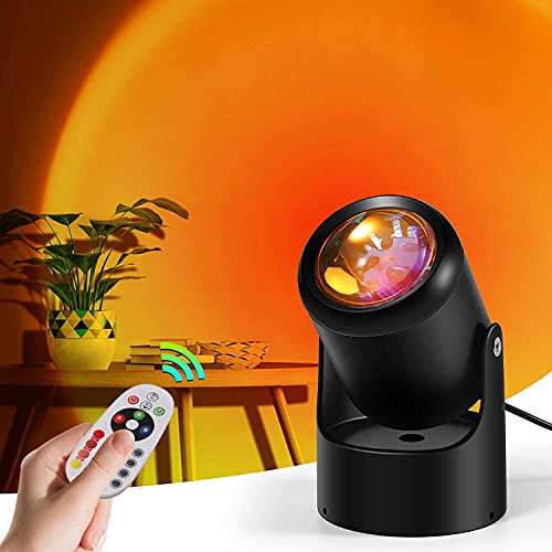 KAYIMAN Luz de puesta de sol, con control remoto regulable, proyector de arco iris giratorio de 180 grados, luz USB, luz de noche LED, lámpara de pie romántica