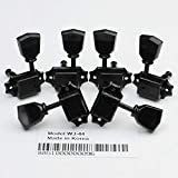 Wilkinson Deluxe 3x3 Guitar Machine Heads WJ-44 – (3R + 3L) Vintage Tuning Key Pegs Tuners Replacement for Gibson Les Paul SG Epiphone Style Electric or Acoustic Guitars (Black)
