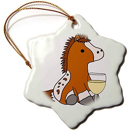 Dant454ty Appaloosa Pony Or Horse Drinking Wine Christmas Ornaments for the Home 2019 for Women Friends Kids Christmas Tree Ornament
