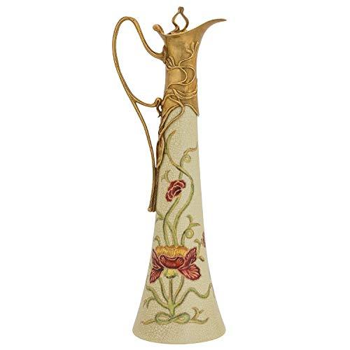 aubaho Cruche vin Fleur Sculpture Porcelaine Laiton Style Antique 40cm
