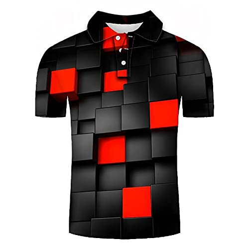 GXRGXR 3D Printed Polo Shirts - Creative Lapel Button Short Sleeve Breathable Shirt -Summer Unisex Simple Geometric Grid Graphic Sport Plus Size T-Shirt for Men Women Tee Top,Red,L