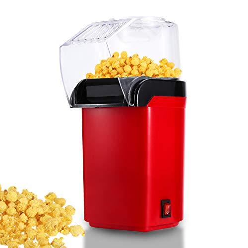 Hengda Palomitero Máquina 1200 W Aire Caliente Palomitero para el hogar, Sin grasa Sin aceite,Fácil de Usar,Rojo