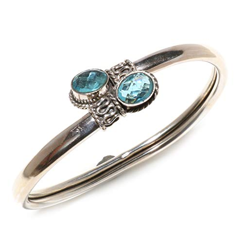TIBETAN SILVER 925 Sterling Silver Cuff Bracelet for Women and Teens Authentic Blue Topaz Gemstone Tribal Gypsy Ethnic Boho Style Designer Adjustable Fashion Healing Jewellery Handmade ARTISANS