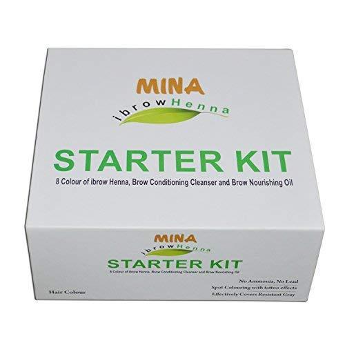 MINA Ibrow Henna Einsteigerpaket - 8 Farben von Ibrow Henna, Brow Conditioning Cleanser und Brow Ernährung Öl