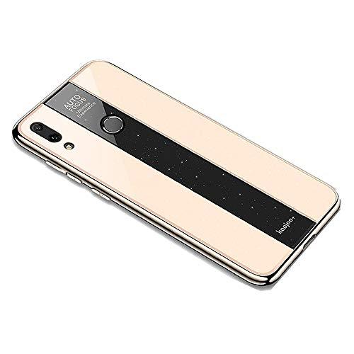 Miagon Überzug Hülle für Huawei Y9 2019,Glänzend Glitzer Überzug Plating Rahmen Ultra Dünn Hart PC Handyhülle Schutzhülle Tasche Weich Case Bumper für Huawei Y9 2019,Gold