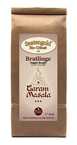 "Saatengold Bratlinge - Veggieburger für 14 Bratlinge | Vegan, Bio, Natürliche Burger | (Veggieburger ""Garam Masala"")"