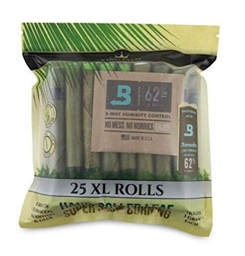 King Palm King XL Size Cones (1 Pack of 25, 25 Rolls Total)- Natural Pre Wrap Palm Leafs - Pre Rolled Cones - All Natural Cones - Corn Husk Filter - Preroll Cones - Cones with Filter